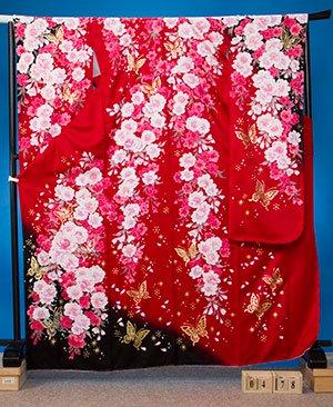 F478トール振袖レンタル裄72(身長156-176ヒップ72-102)赤 しだれ桜 蝶 【新品同様】