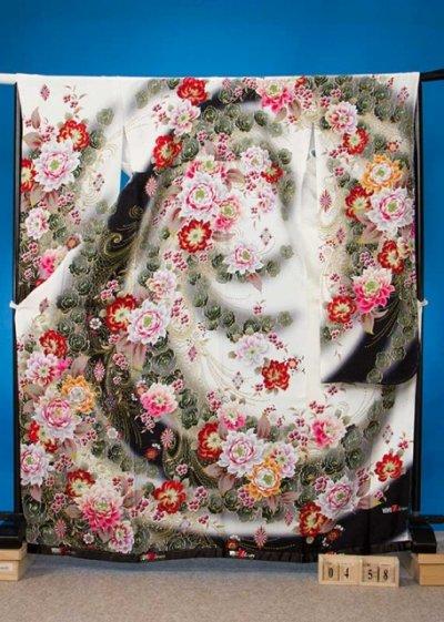F458トール振袖レンタル裄72(身長157-176ヒップ72-102) 正絹 白 [ViVi]ローラ着用柄【新品同様】