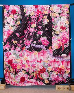 F443トール振袖レンタル 裄72(身長156-176ヒップ76-106)黒 リボンと薔薇 ドット [ISABELLA]イザベラ【新品同様】姫ロリ系
