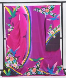 やや大きいサイズ大振袖レンタル(ヒップ109cmまで)濃いピンク/紫 虹 OF877