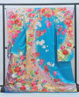 普通サイズ大振袖(ヒップ103cmまで)水色 薔薇 OF881