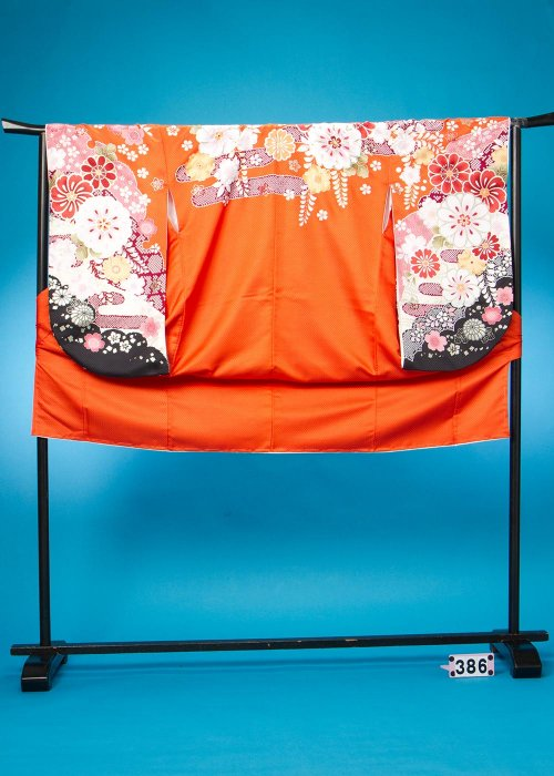 S386小振袖レンタル裄71(ヒップ78-104) 日本製 オレンジ 辻が花【新品同様】