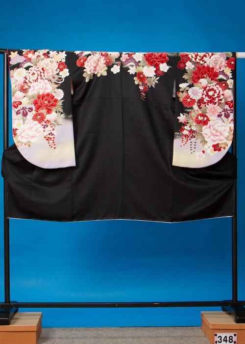S348小振袖レンタル裄72(ヒップ7-101) 黒 牡丹[菜々緒]【新品同様】