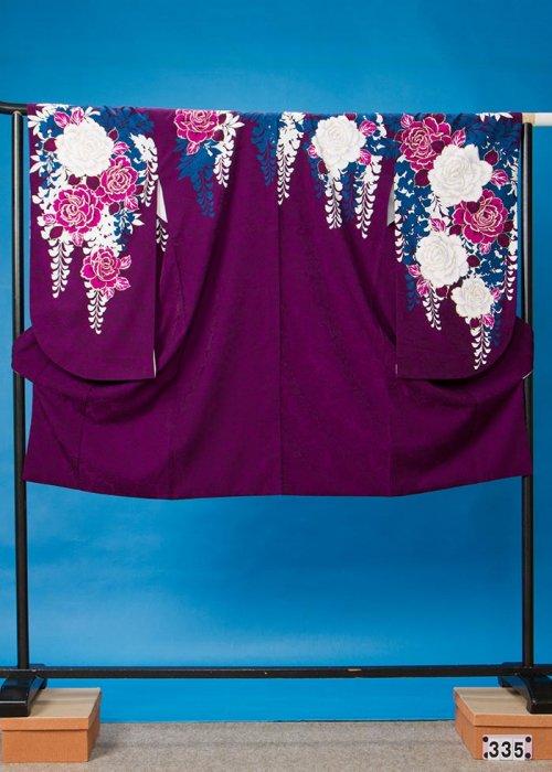 S335小振袖レンタル 裄70 紫 薔薇 [CECIL McBEE]セシルマクビー【新品同様】