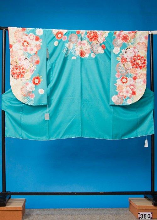 S350小振袖レンタル裄69(ヒップ78-103) 青緑 牡丹 [大島優子] 【新品同様】
