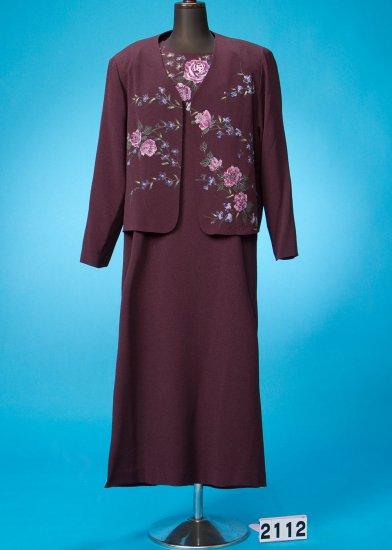 HD21-12訪問着/色留袖風ちりめん手描きロングドレス21号(バスト104まで) 紫系 薔薇 日本製 新郎新婦のお母様にも