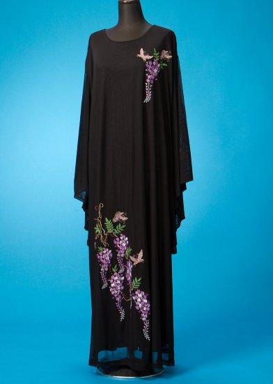 HD27-10留袖着物風ロングドレス27-30号 (身長158-168バスト107-122) オーガンジー 藤の花刺繍 【新品同様】