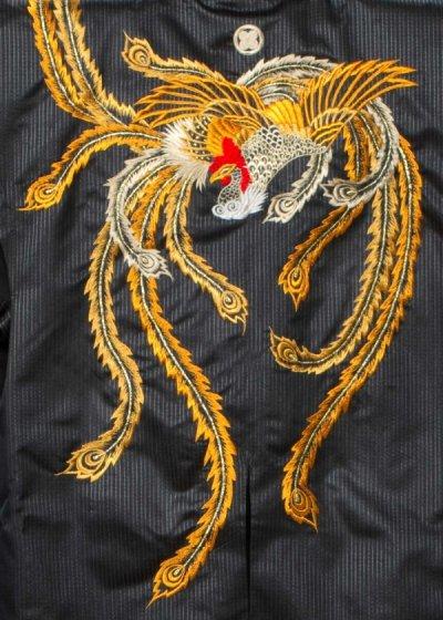 J102トールワイド戦国武将風 陣羽織 (身長160-200 胴回り70-120) 日本製  鳳凰 黒【新品同様】