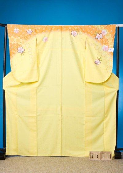 S241小振袖レンタル 裄70(ヒップ107まで)黄色/オレンジ 桜【新品未使用】