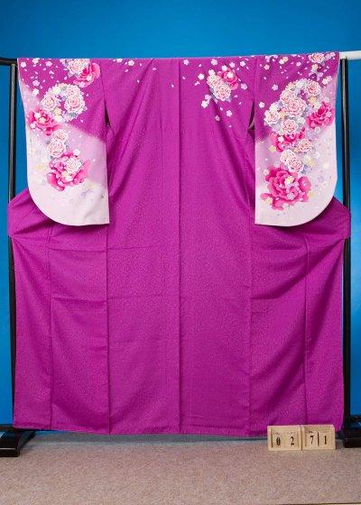 S271小振袖レンタル裄69(ヒップ70-100)紫 薔薇