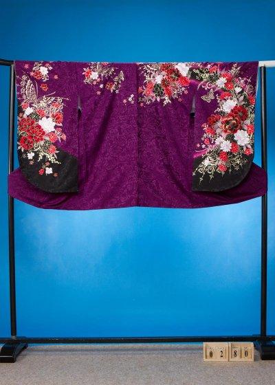 S280小振袖レンタル 裄70 紫 薔薇 Twofacy藤田志穂【新品未使用】