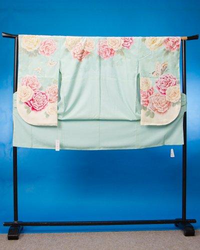 S388小振袖レンタル裄70 ミントグリーン 薔薇 [渡辺麻友] まゆゆ【新品同様】