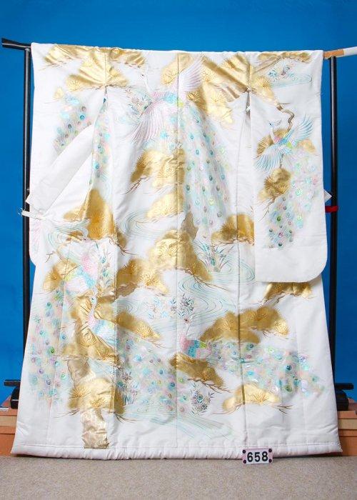 U658打掛レンタル裄68(身長153-173ヒップ87-117)孔雀と金彩の松