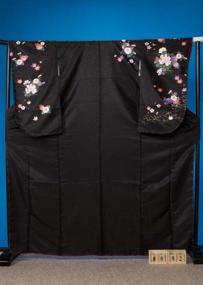 S92小振袖レンタル 裄69(ヒップ73-103)黒 牡丹