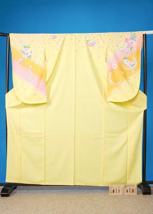S108小振袖レンタル 裄70(ヒップ107まで)黄色 花
