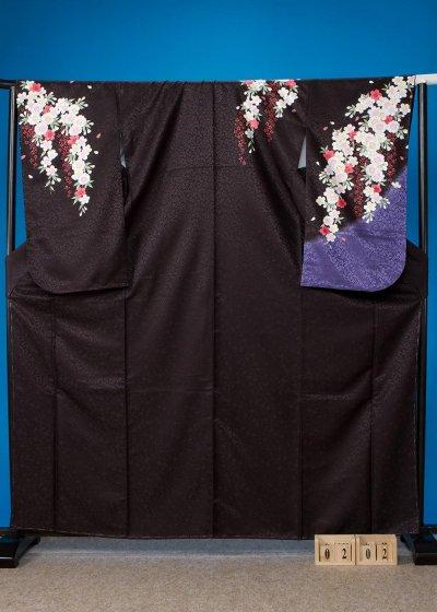 S202小振袖レンタル 裄70(ヒップ109まで)黒 桜