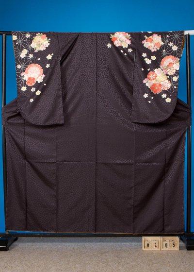 S205 小振袖レンタル 裄68(ヒップ69-99)黒  麻の葉模様に雪輪