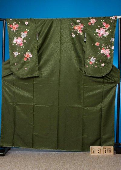 S228小振袖レンタル L裄69(ヒップ78-103) 緑系 濃いグリーン桜【新品同様】