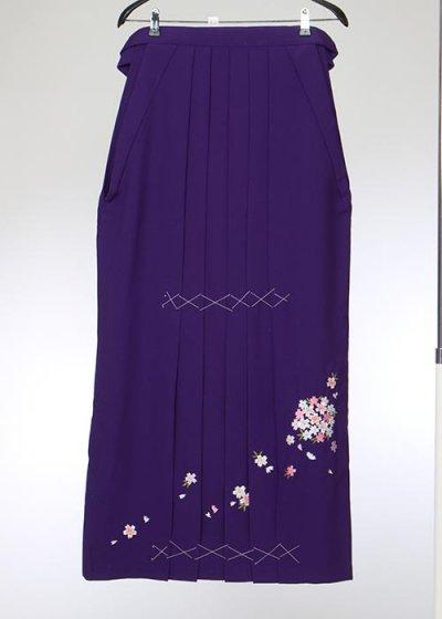 HA104-1トール女袴レンタル(身長173-178普通巾) 紫 桜の刺繍 特注大きいサイズ