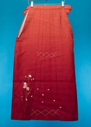 HA100-1トール女袴レンタル(身長168-173cm前後)オレンジ・エンジ裾ぼかし刺繍入り