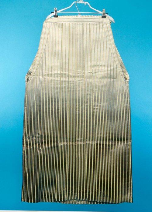 MH99-1トール男袴レンタル 紐下99(身長190-195cm)黒ぼかし 金とオーロララメストライプ