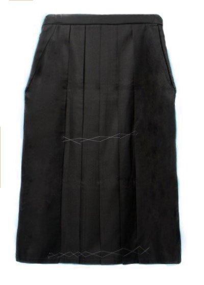 HA99-8Wトール超ワイド女袴レンタル紐下99(身長166-170(ブーツの場合170-175)ヒップ120-140バスト130まで) 黒 無地 幅広