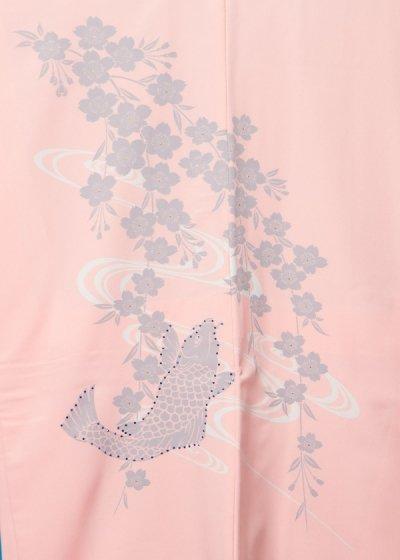 MP75-27紋付レンタル 裄75(身長175 胴回り77-107)日本製 サーモンピンク 桜に鯉の滝登り ラインストーン[Modern Classic]