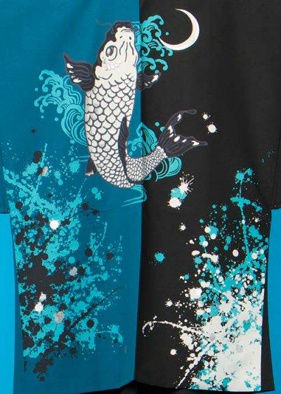 MP77-38トールワイド紋付レンタル 裄77(身長180 胴回り81-111) 日本製 鯉の滝登り  青/黒 [JAPAN STYLE] 【新品同様】