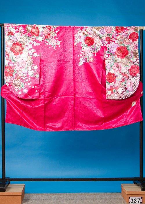 S337小振袖レンタル 裄69 ショッキングピンク 薔薇 [anan] 【新品同様】