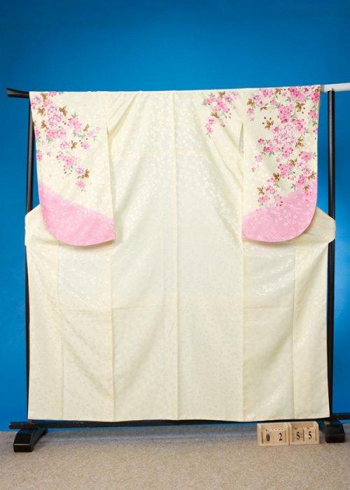 S255小振袖レンタル 裄70(ヒップ72-102) クリーム色  八重桜