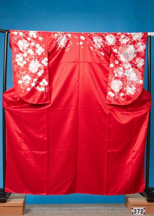 やや大きい小振袖L裄69  赤ラメ  桜 [From KYOTO] S372