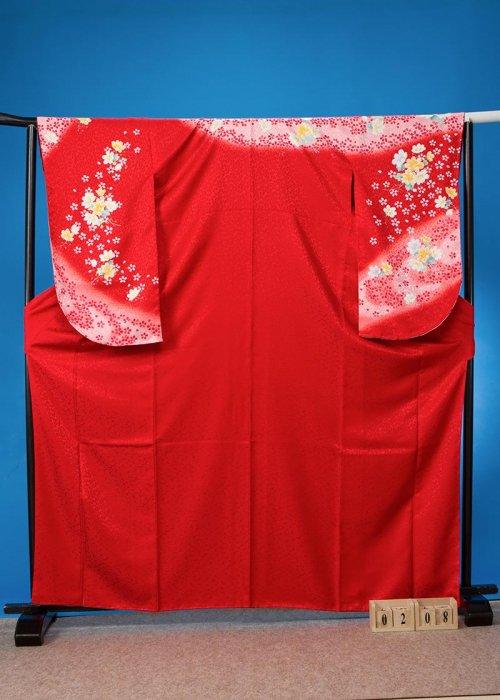 S208小振袖レンタル 裄70(ヒップ72-102) 赤系  小桜