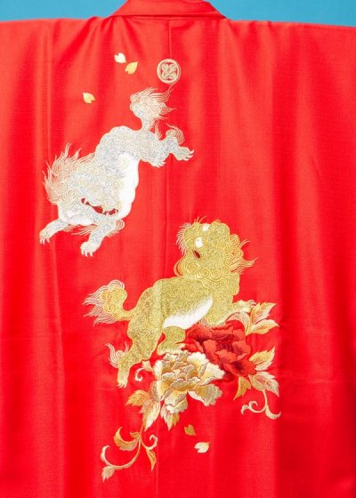 MP75-32紋付レンタル 裄75(身長175 胴回り73-103) 日本製 朱赤 唐獅子牡丹の刺繍【新品同様】