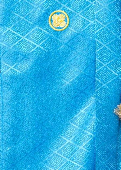 MP82-1トールワイド紋付レンタル 裄82(身長185-195胴回り84-114) 水色 明るいターコイズブルー