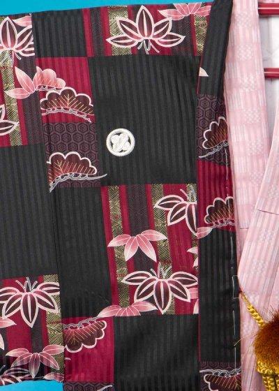 MP80-7トールワイド紋付レンタル 裄80(身長190胴回り72-102) 黒に赤の市松模様・松竹[J-TREND]【新品未使用】