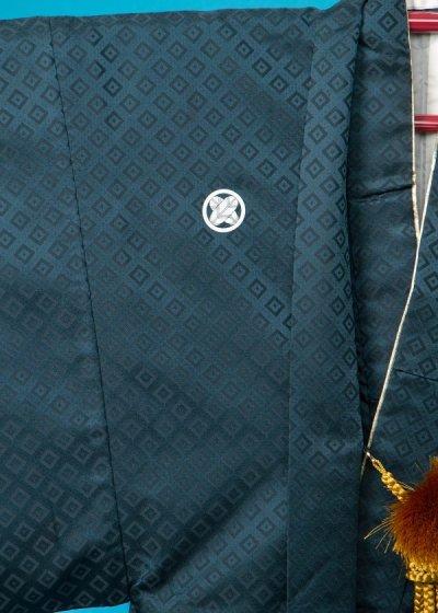 MP73-11紋付レンタル 裄73(身長170 胴回り78-108)正絹 紺色がかった濃い緑色