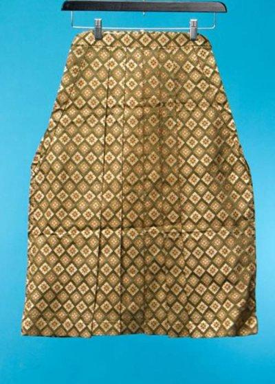MH69-1男袴レンタル 身長120-125cm前後 緑系 抹茶色に金の武田菱