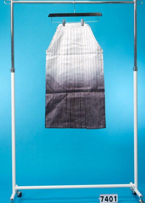 小さいサイズの男袴 身長125-133cm前後 白に銀の縞、黒ぼかし MH74-1