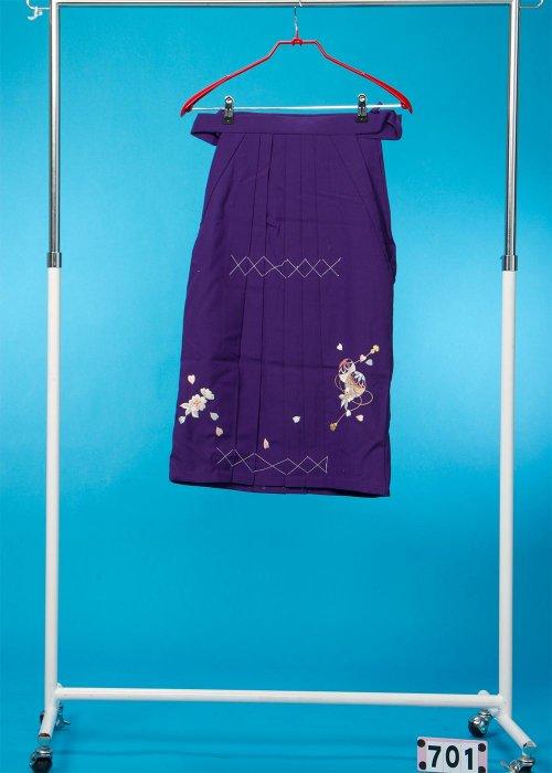 女子袴(身長115-125cm前後)紫 手まりの刺繍入り HA70-1