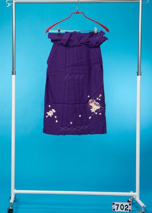 女子袴(身長115-125cm前後)紫 手まりの刺繍入り HA70-2