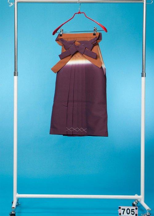女子袴(身長115-125cm前後)茶/紫ぼかし HA70-5