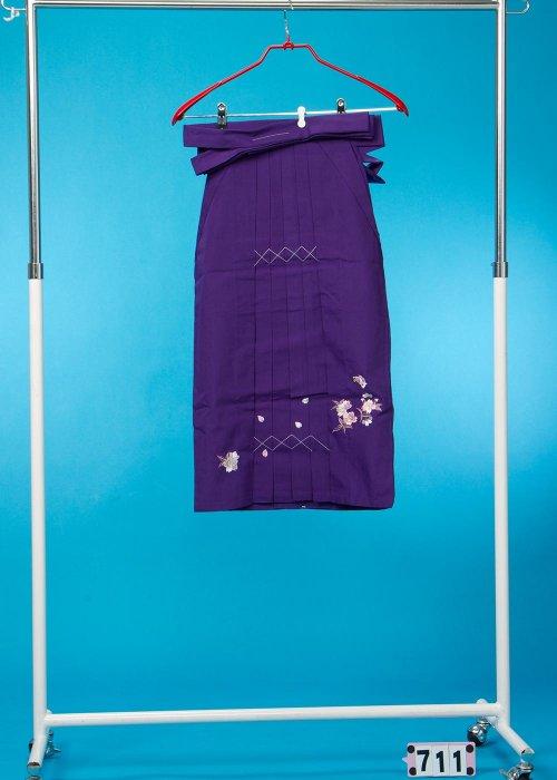 女子袴(身長115-125cm前後)紫 桜と蝶 HA71-1