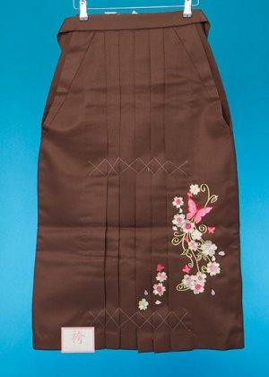 HA84-5女子袴レンタル(身長143-148)茶色 チョコブラウン 桜と蝶の刺繍