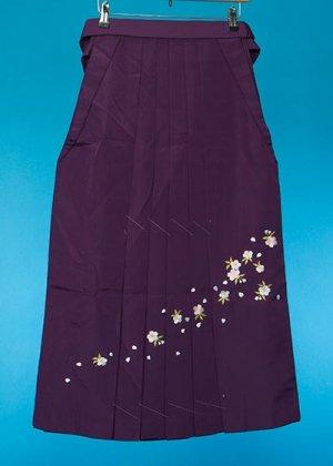 HA87-10女子袴レンタル(身長150-155)紫 桜刺繍