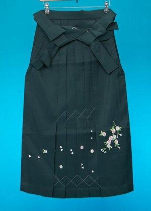 HA87-12女子袴レンタル(身長150-155)グリーン 桜刺繍