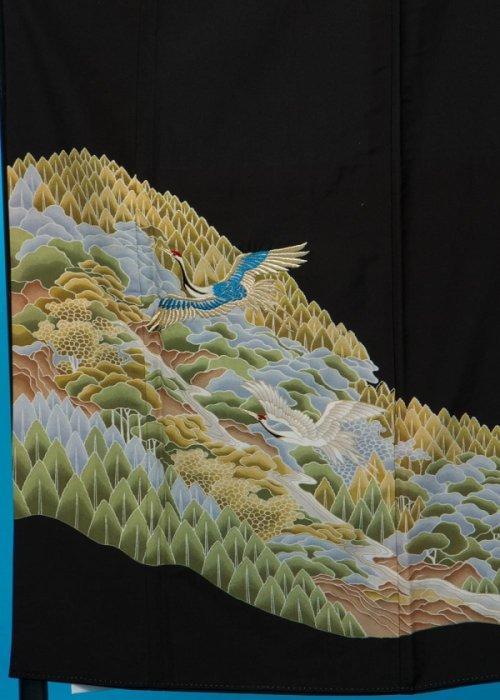 T70ワイド留袖レンタル4L 裄69(身長139-159ヒップ86-111) 山水に鶴の刺繍  加賀調