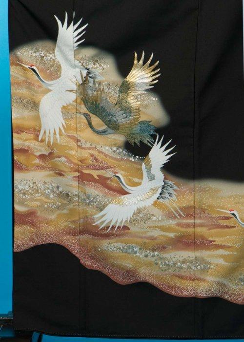 T74トールワイド留袖レンタル 裄68(身長149-169ヒップ85-110)金彩 鶴