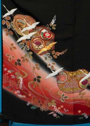 TK124トールワイド留袖レンタル 裄70(身長152-172ヒップ85-110)正絹 鶴に亀甲 作家物 [煌]