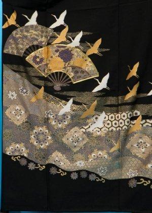 TK137ワイド留袖レンタル 裄66-70身長139-159ヒップ88-113)正絹 末広に鶴