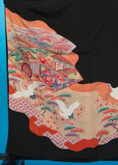 TK166ワイド留袖レンタル 裄67(身長143-163ヒップ87-112)正絹 扇に御所車と鶴 作家物